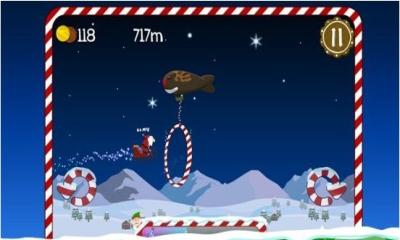 这是一款圣诞主题的横版跑酷游戏,你要帮助圣诞老人连夜给各位送去