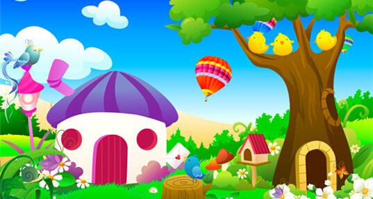 卡通家园风景图片