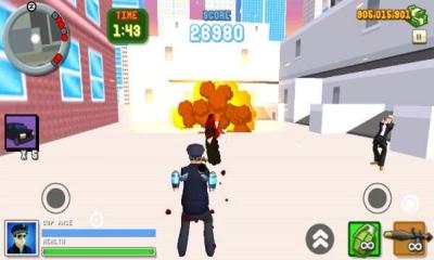 圣安地列斯愤怒的警察3D城市(双摇杆射击)Angry Cop 3d City Frenzy截图0