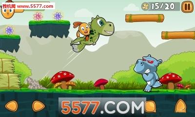7内购版  丛林冒险的故事游戏中玩家需要收集笑小花来发动技能,碰到