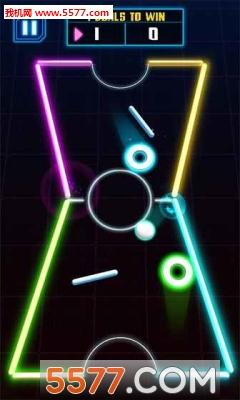 冰球游戏,游戏搭载了精美炫丽的laser发光特效和经过反复精心调整的物