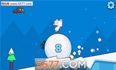 游戏中,玩家要帮助呆笨的北极小熊顺利地踩着雪球跑下雪山.